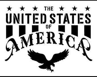 The United States of America - Word Art Stencil -  Select Size - STCL1252 by StudioR12