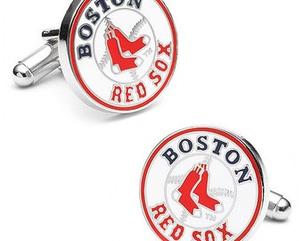 Boston Red Sox style Cufflinks Cuff Links Best man Groomsmen Wedding Gift Father's Day Graduation Dad Birthday Baseball