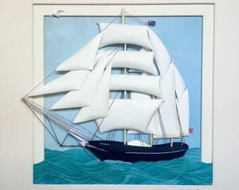 Original Handmade Paper Sculpture - Sailing, wall art, framed in shadow box