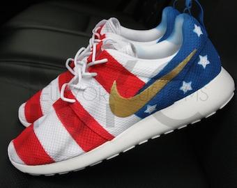nike roshe run black marble american flag pride custom