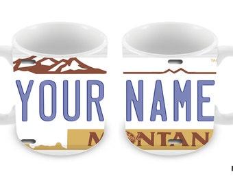 Personalized Custom Montana License Plate 11oz Ceramic Coffee Mug