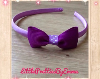 Purple hairband, purple hair bows, hair bows, bow hairband, purple hair accessory, purple hair accessories, girly hairband, girl party gift