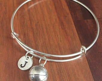 KIDS SIZE - Basketball initial bracelet, basketball jewelry, gift for basketball player, sports jewelry, bball bracelet, silver bracelet