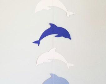 Dolphin Garland Streamer, for Baby Shower, Birthday Party, Baby Nursery, Blue, Light Blue, Grey, White