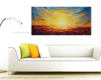 Large Canvas Art, Oil Painting, Wall Art, Modern Art, Abstract Art, Abstract Painting, Canvas Painting, Landscape Painting, Colorful Sky Art