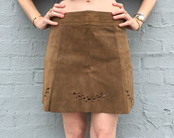 vintage 90s leather suede tan structured miniskirt size small