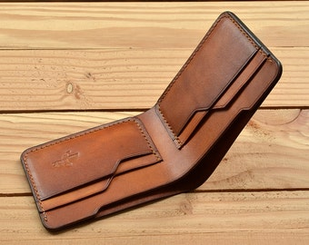 hand stitched Bifold leather wallet, slim wallet,  men wallet, vintage wallet, gift idea, vegetable tanned leather, personalize wallet