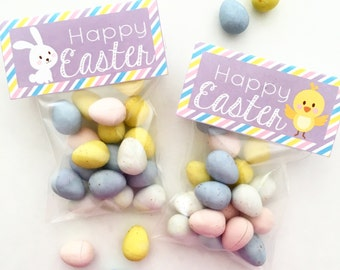Happy Easter Tags and Bag Toppers. Bunny and Chick Easter tags. Instant Digital Download.