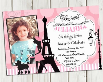 Paris Invitation Birthday, Pink Chic Paris Party Invitation, Paris Birthday, Girl Invitation Any ocassion  Printable