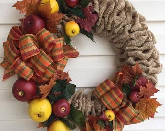 Apple Harvest Burlap Wreath