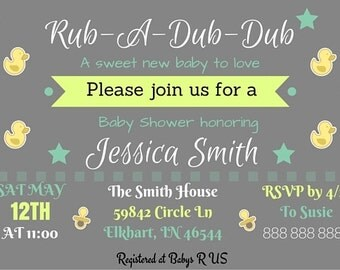 Personalized Rub A Dub Dub Baby Shower Invitations