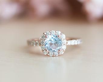Aquamarine Rose Gold Ring, Cushion Cut Engagement Ring, Diamond Halo Ring, Aquamarine Engagement Ring, Aquamarine Jewelry