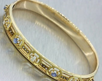 1880s Antique Victorian 14k Yellow Gold Diamond Sapphire Bangle Bracelet