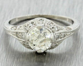1920s Antique Art Deco Platinum 0.82ct J-K I1 Diamond Engagement Ring