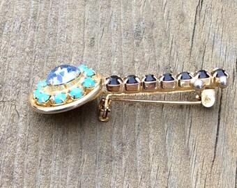 Vintage Rhinestone Banjo Pin