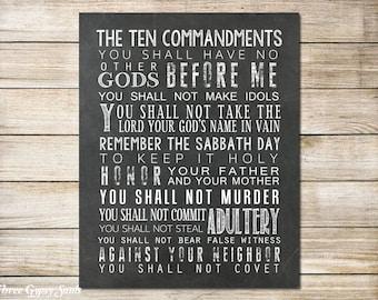 PRINTABLE ART Ten Commandments Bible Verse Exodus 20 10 Commandments Bible Scripture Art  Christian Wall Art Baptism Gift