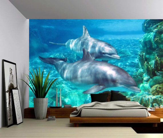 Dolphin underwater world large wall mural self adhesive for Dolphin wall mural