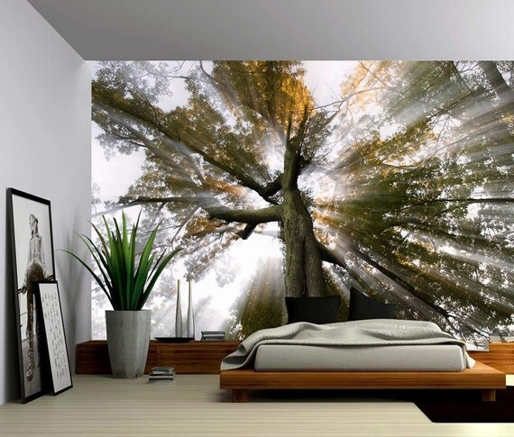 soleil arbre rayons de lumi re grande murale papier peint. Black Bedroom Furniture Sets. Home Design Ideas