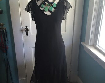 Vintage Black Scarlett Dress Size 12 Evening Dress Flutter Sleeve