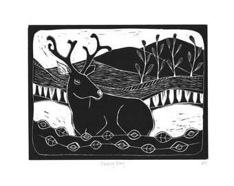 Sleeping Stag - Original Linocut Print