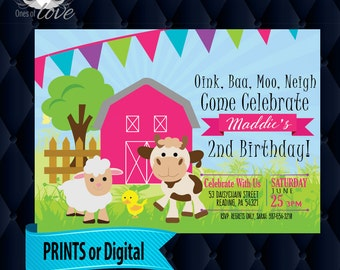 Farm Barn Animals Birthday Invitation, Farm Animal Birthday Invitation, country barn, CUSTOM printable digital download, boy or girl hayride