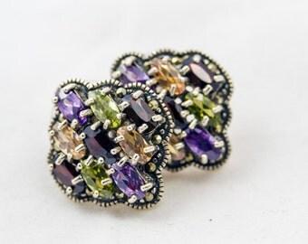 Multi-gemstone Sterling Silver Earrings