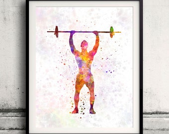 Body buiding man 01 - Fine Art Print Glicee Poster Home Watercolor Room Children's Illustration Wall - SKU 1841