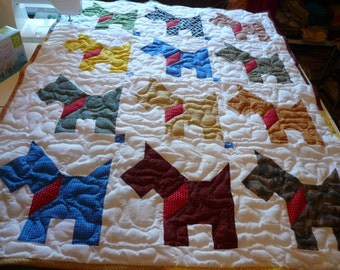 Handcrafted handmade Boy Girl Pieced Scottie Dog Multi Color Baby Crib Throw Quilt