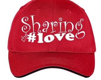 Sharing the #love Instagram FB Twitter Pinterest Christian Religious Cap Hat Black Red White Gift