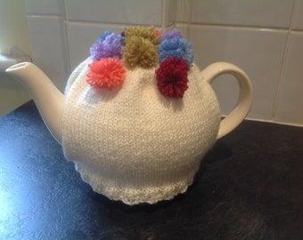 Hand knitted flower tea cosy, cream, pom-poms tea cosy,