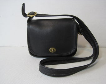 "COACH Handbag Purse Shoulder Bag # B8C-9965 Size 7.5""x8""x4"" Handle 41"" Women's Leather Black Vintage Bag366"