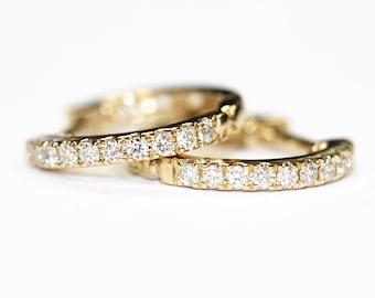 14k Solid Gold Tiny Diamond Hoops, Small Diamond Huggies, Yellow Gold .17 ct. Diamond Weight