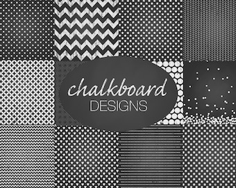 "Chalkboard Digital Paper: Printable ""CHALKBOARD DESIGNS"" with Chevrons, Hearts, Confetti, Striped and Dotted Patterns, Printable Background"