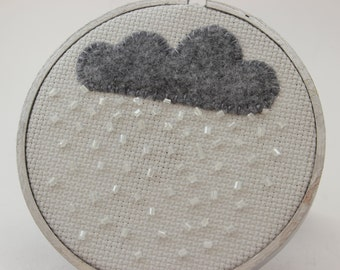 Little Gray Rain Cloud Embroidery Hoop Art with Felt and Beading.