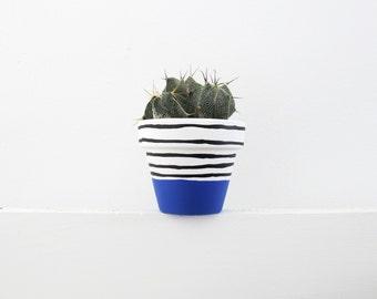 Hand Painted Dark Blue Stripe Plant Pot - 6cm