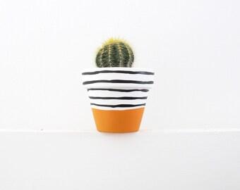 Hand Painted Light Orange Stripe Plant Pot - 6cm