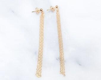 14k Gold Fill Chain Tassel Earrings