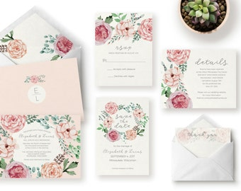 Wedding Invitation Suite / Pink Floral / Boho / Watercolor / Printable Wedding Invitation / Save the Date / Custom Printable Template