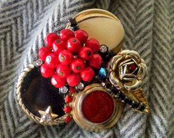 Vintage Red,Black and Gold Assemblage Brooch..Statement Brooch..OOAK