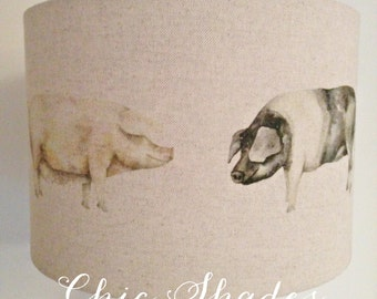 Country Oink Pig Linen Fabric Lampshade