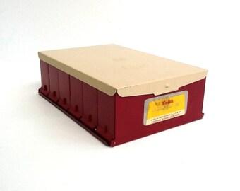 Mid Century Kodak Compartment File, 35mm Slide Holder, Holds 240 Slides, Red & Beige, Made in USA