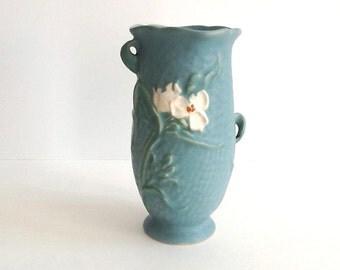 Antique Weller Blue Matte Dimple Finish Vase, Delsea, Signed Weller Vase, Floral Motif, 1930's