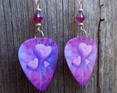 Pink and Purple Hearts Guitar Pick Earrings with Fuchsia Crystals