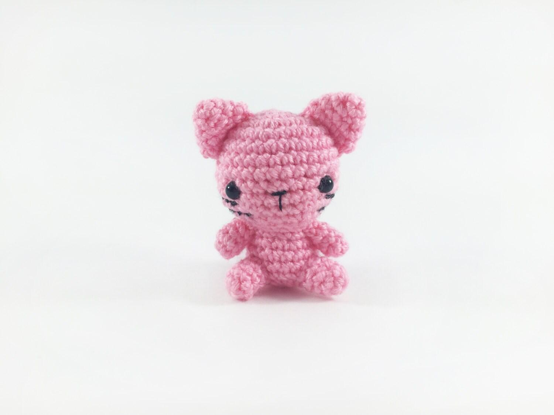 Amigurumi Kitty Mini : Crocheted Pink Mini Kitty Mini Cat Amigurumi Cat Crochet