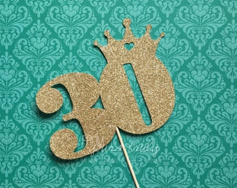 Gold glitter 30th birthday crown Cake Topper (Pk of 1)