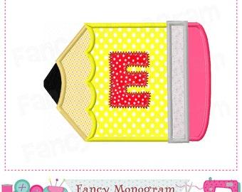Pencile Monogram E applique,Pencilel Letter E applique,E,Pencile,Font E,Pencile applique,E,Birthday design,School applique.-01