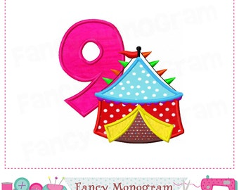 Circus tent Number 9 applique,My 9th birthday,Circus tent,9,Easter applique,Tent applique,Tent,Babys applique,Tent applique,9,Circus tent.