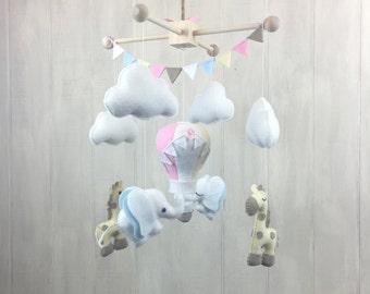 Baby mobile - crib mobile - elephant mobile - giraffe mobile - nursery mobile - hot air balloon