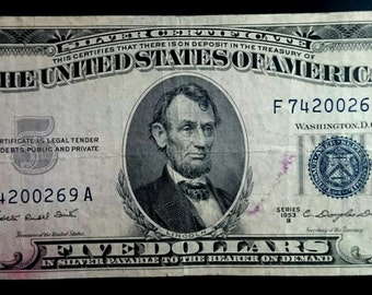 Vintage Solid Grade Circulated 1953 B Silver Certificate Five Dollar Bill Blue seal  banknote