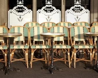 Paris photography, Paris cafe chairs, sidewalk cafe, French cafe, French wall art, Paris decor, home decor, fine art print